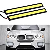 RioRand 2-Piece Waterproof Aluminum High Power 6W 6000K Xenon Slim COB LED DRL Daylight Driving Daytime Running Light for All Vehicles with 12V Power