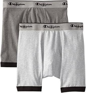 Champion Men's Performance 2 Pack Stretch Boxer Brief, Heather/Charcoal, Small