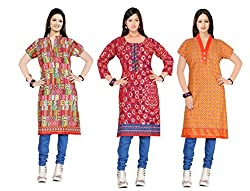 Indian woman's Three combo offer of cotton unstich Different multicolor kurti (RTS CDE 6 F)