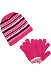 CTM® Girls Striped Beanie Hat and Gloves Winter Set