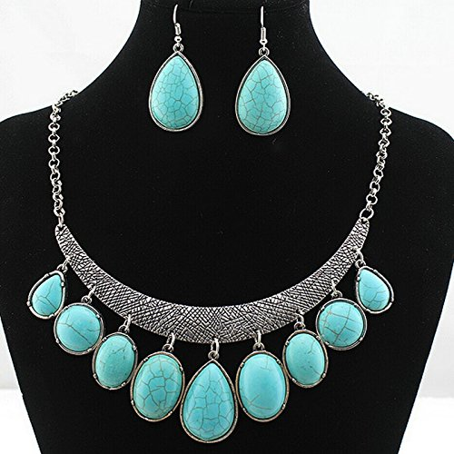 ARICO jewelry sets top sales vintage turquoise natural stone water drop statement jewelry set NE828 (Opi Nail Polish Vintage compare prices)