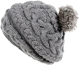 Nirvanna Designs CH700 Circular Cable Beret with Fleece and Faux Fur Pom, Ash
