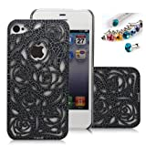 Cocoz®romantic Black Rose Carved Palace Fashion Design Hard Case Cover Skin Protector for Iphone 4/4s At&t Sprint Verizon Retail Packing(pc) H013