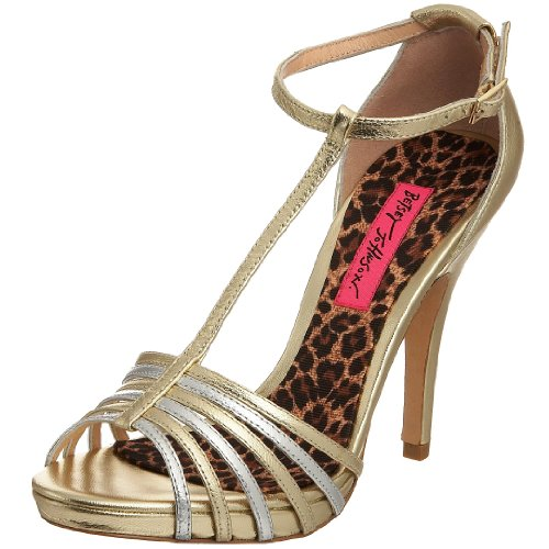 Betsey Johnson Women's Jolene Slingback Heel Gold/Silver Satin H5135 5.5 UK