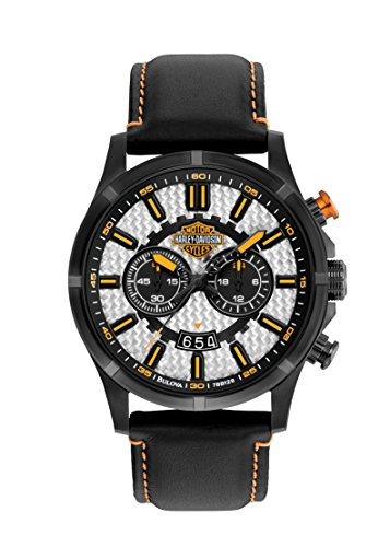 Harley Davidson Men's Quartz Watch with Silver Dial Chronograph Display and Black Leather Strap 78B128