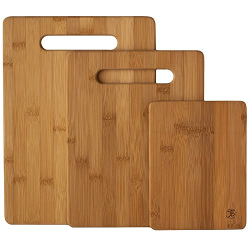 LANDUSA Cutting Board Set - 3-Piece Small, Medium And Large Strong Bamboo Wood Cutting Boards
