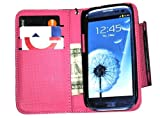 Deluxe Folio Wallet Leather Case for Samsung Galaxy S3 i9300, i747, L710, T999,i535 Multifunctional - Black / Hot Pink
