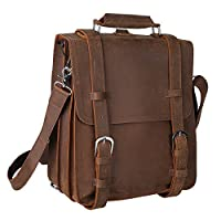 "Kattee Genuine Leather 14"" Laptop Briefcase Backpack Messenger Bag Handbag by Kattee"
