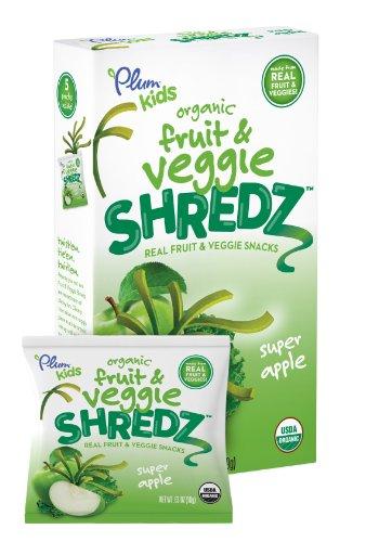 Plum Kids Organic Fruit and Veggie Shredz Super Apple 5 Count Pack of 8