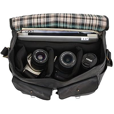 Gusti Leder studio Genuine Leather Camera Bag Transportation Bag Office Bag Vintage Uni College Laptop 15,6'' Unisex Black 2U7-17-3 - satchels