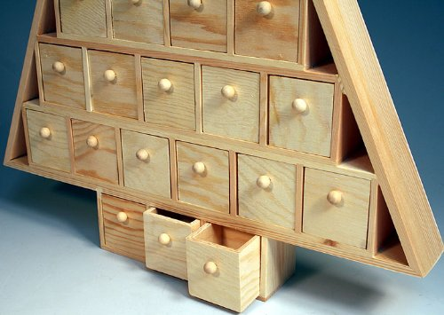Creative Hobbies Wood Advent Tree Featuring 24 Removable Box Drawers ...