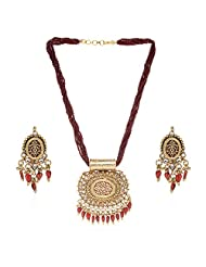 Traditional Kundan Pendant Necklace Set Cz Beads Stones Jewellery