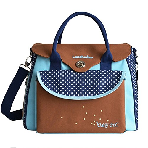 Landor Dot Designer Baby Diaper Bag Blue