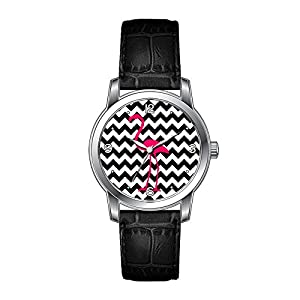AMS Christmas Gift Watch Women's Vintage Design Leather Black Band Wrist Watch Bright Pink Flamingo Black and White Zigzag Watches