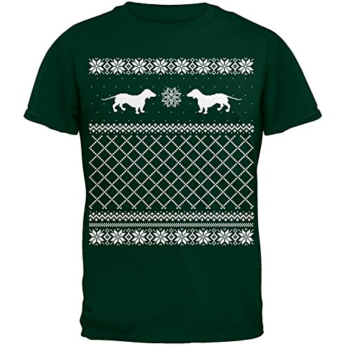 Dachshund Ugly Christmas Sweater Green Adult T-Shirt - Large