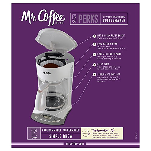 Mr. Coffee SKX20 12-Cup Programmable Coffeemaker, White Home Garden Kitchen Dining Kitchen ...