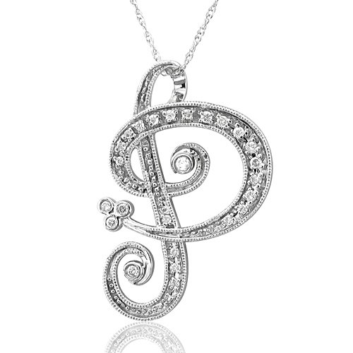 Alphabet P Diamond Initial Pendant in 14k White Gold