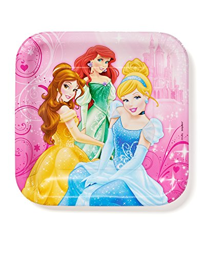 Disney Princess 9 in Square Plate, Pack of 8, Party Supplies