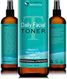 DAILY Facial Toner for All Skin Types - Contains Glycolic Acid, Vitamin C, Witch Hazel and Organic Anti Aging Ingredients for Sensitive Skin, Combination, Acne, and Even Oily Skin