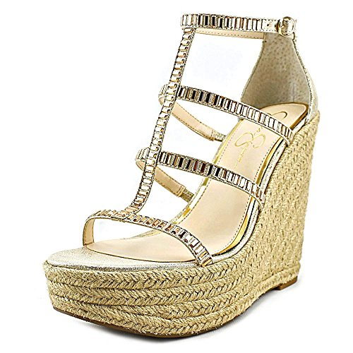 Jessica Simpson Women's Adelinn Espadrille Wedge Sandal, Pale Gold, 8.5 M US