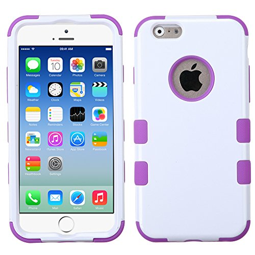 Iphone 6 Rubberized Tuff Hybrid Phone Protector Cover (Ivory White/Electric Purple)