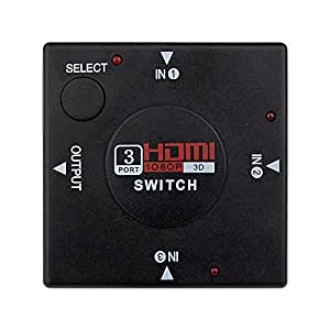 HDMI 3 INPUT SWITCH HUB SPLITTER BOX PORT OUTPUT Commutateur HDMI Switch - 3 ports - HUB 3x1 (3 entrées - 1 sortie) - 1080p Full HD v1.3b