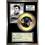 """ELVIS PRESLEY - """" Signed cheque """"Framed Gold Disc Display Cd (black a4 frame)"""