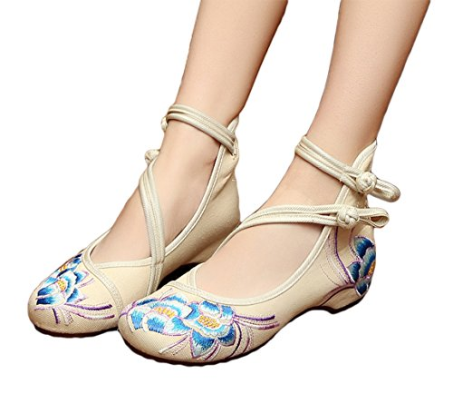 AvaCostume Womens Embroidery Rubber Sole Summer Wedges Sandals Fashion Dress Shoes for Cheongsam, Beige, 41