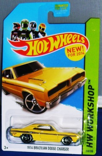 Hot Wheels 1974 Brazilian Dodge Charger Yellow 240/250 HW Workshop New for 2014