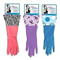 Glam Gloves Latex Dishwashing Gloves Blue