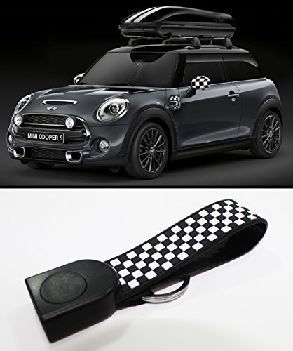 FOR 2014-2016 MINI COOPER S F56 BLACK WHITE CHECKERED FLAG KEY FOB CHAIN RING STRAP (Mini Cooper Tuning compare prices)