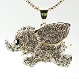 Daisyjewel Couture Pave Elephant: This Adorable Rose Silver/Light Gold Dumbo Has a Black Crystal Eye Among a Sea of Sparkling Crystals on a 3D Body with Heart Cutouts in the Back Hanging From a Luxury 30in. Braided Silver Chord with Lobster Clasp
