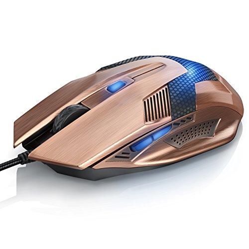 CSL - SCORPION USB Wired Mouse (Copper-Look)   Mouse ottico USB (con cavo)   High Precision   Velocità di reazione   Design ergonomico   6 tasti   Connettore placcato in oro   Plug & Play   Windows 10 compatibile