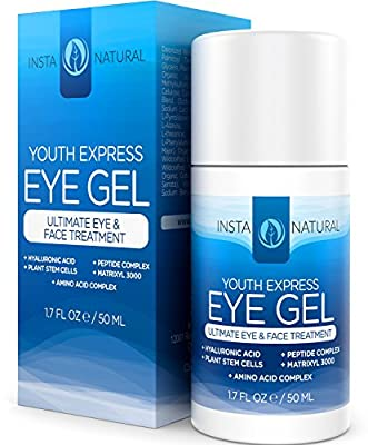 InstaNatural Eye Gel Cream - Wrinkle, Dark Circle, Fine Line & Redness Reducer - Pure & Organic Anti Aging Blend for Men & Women with Hyaluronic Acid - Fight Bags & Lift Skin - 0.5 OZ Travel Size
