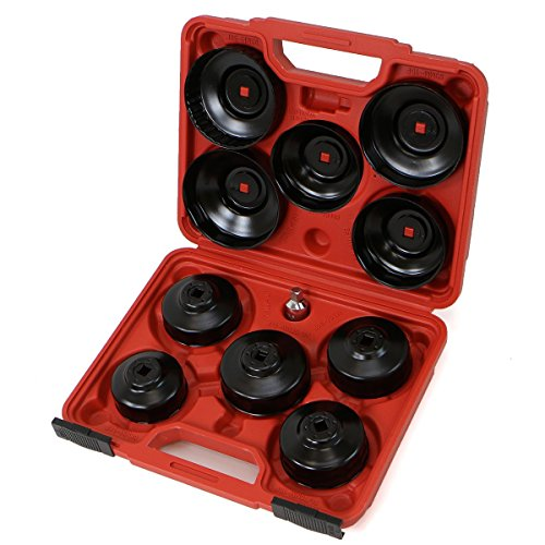 XtremepowerUS Universal 10pcs Oil Change Filter Cap Wrench Cup Socket Tool Set