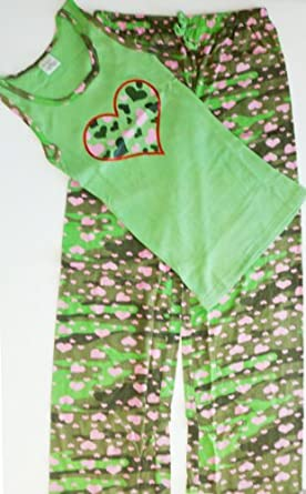 Ladies Cotton Pajama/Matching Tank Set Green Camo Hearts XL