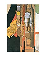 Especial Arte Lienzo Glasses, newspaper and wine bottle - Juan Gris Multicolor