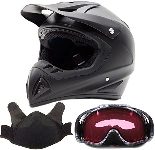 Adult Snocross Snowmobile Helmet & Goggle Combo - Matte Black , Carbon Fiber Print ( Large ) (Snow Machine Helmet compare prices)