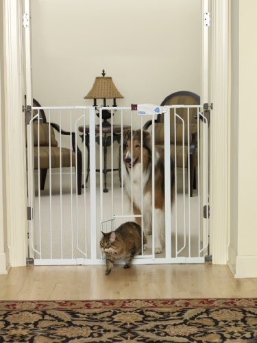 """The Animazing Extra Tall Pet Gate With Pet Door - 41"""" Height Is Great For Large And Extra Large Dogs."""