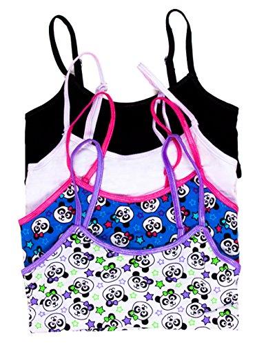 Caramel Cantina Girls 4 Pack Training Bras In Fun Patterns (Large, Purple/Blue Pandas) front-143200