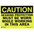 "Zing Eco Safety Sign, Header ""CAUTION"", ""Hearing Protection Must Be Worn While Working In This Area"", 14"" Width x 10"" Length, Self Adhesive Eco-Poly, Black on Yellow (Pack of 1)"