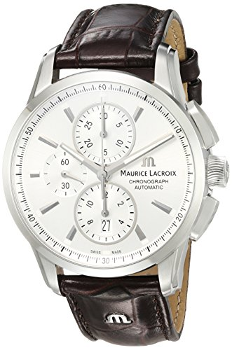 Maurice-Lacroix-Mens-Pontos-Swiss-Automatic-Stainless-Steel-and-Leather-Casual-Watch-ColorBrown-Model-PT6388-SS001-130-1