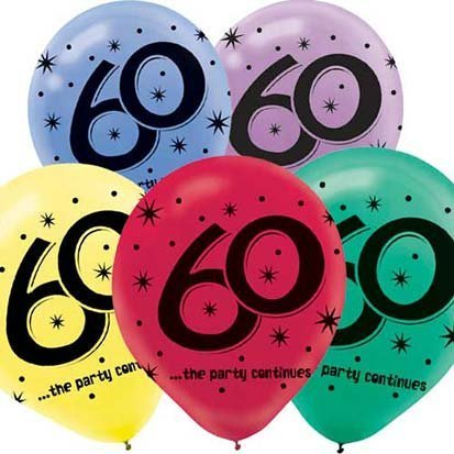 """60"" Printed 12in Balloon Assortment 15ct"