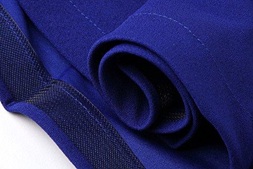 Cfanny Women's Lace Nude Ruffle Layered Skater Dress,Royal Blue,Small
