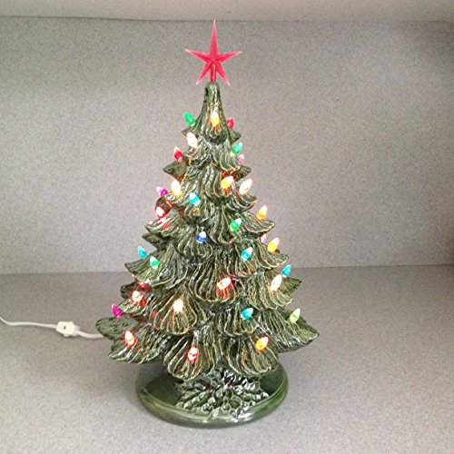 Ceramic Christmas tree Tabletop Traditional Old Fashioned Large green glazed lighted Ceramic Christmas Tree Ready to ship .....18 inches Tall