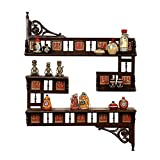 "ExclusiveLane Teak Wood ""Maharaja"" Wall Shelves With Dhokra Work In Walnut Brown"