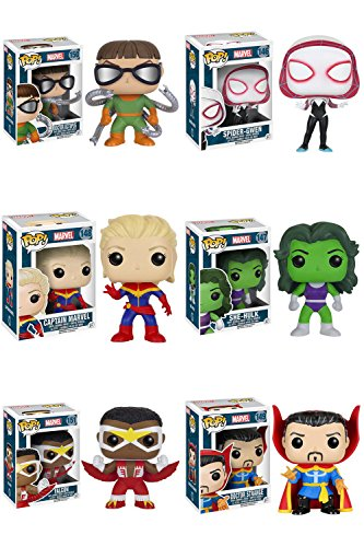 Pop! Marvel - Series 4 Doctor Octopus, Spider-Gwen, Captain Marvel, She-Hulk, Falcon and Doctor Strange Vinyl Figures Set of 6