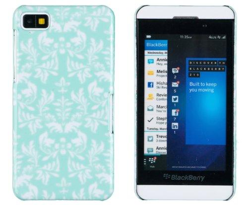 Sea Green Flower Pattern Hard Case For Blackberry Z10 + Dandycase Keychain Screen Cleaner [Retail Packaging By Dandycase]