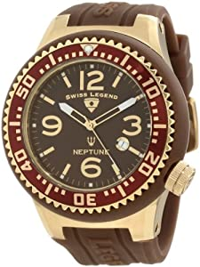 Swiss Legend Men's 21818P-YG-04 Neptune Brown Dial Brown Silicone Watch