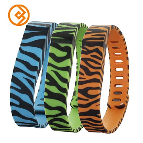 Bandcase New Style Zebra Print Set Size Large L or Size Small S Multicolor Leopard Combinational Replacement Bands with Metal Clasps for Fitbit Flex Only No Tracker/ Wireless Activity Bracelet Sport Wristband Fit Bit Flex Bracelet Sport Arm Band Armband (Lime&Blue&Peach, Large)